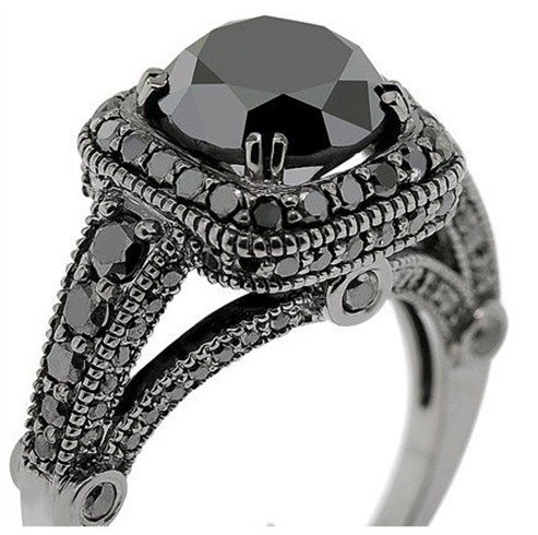 2 ct solitaire black 925 sterling silver
